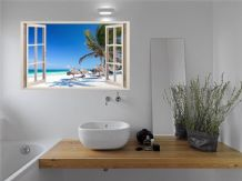 FULL COLOUR Tropical Beach Wall Art, Modern Transfer, Decal, 3D Window, Sticker